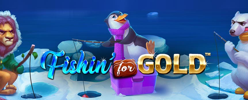 Get your rod ready and join our four frantic fishermen as they go on a slot expedition in search of Free Spins and Golden Wilds in Fishin' For Gold.