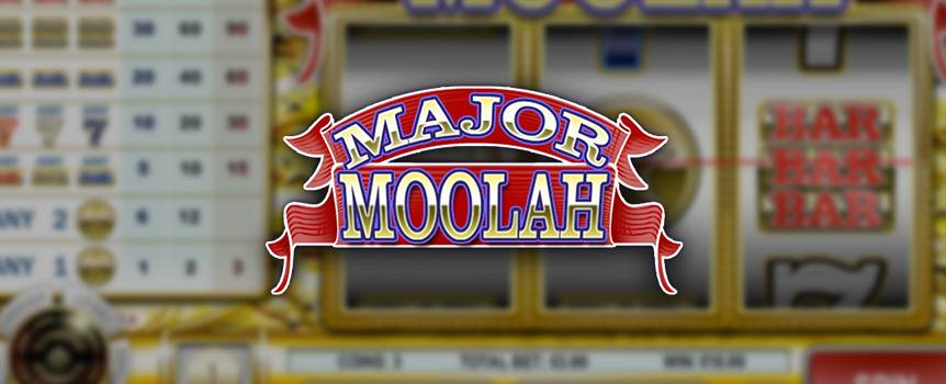 Who doesn't like making some Major Moolah? You'll especially love making moolah in this 3-reel progressive slot, which includes all the classic slot symbols that will whet your appetite to make it big and hit the jackpot! As the reels go, you'll see tons of symbols flying by, including triple sevens, bars, gold stars and many more. Remember, this slot also offers the golden opportunity of hitting the random progressive jackpot if fortune favors your spins. Watch the good times roll with this classic slot, and see if you can play your way to some major winnings.