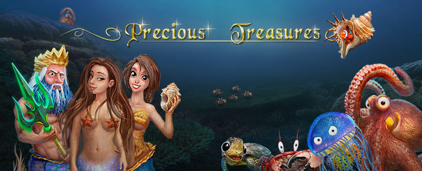 Chuck a sickie, grab a beer and get ready for the adventure of a lifetime with Precious Treasures, a 5-reel slot game that has everything: sexy mermaids, underwater treasures, free spins and plenty of chances to reel in the big one! Dive in and watch as five stacked symbols and a bankroll-boosting wild crank up your chances of scoring wins over 1,000 times your bet. Even better, the scatter symbol will multiply your total bet. Throw in a couple of free spins and you've got yourself an adventure that pays bigtime.